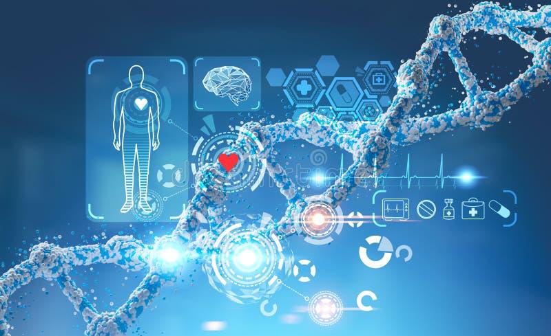 HUD médico y una cadena de la DNA foto de archivo libre de regalías