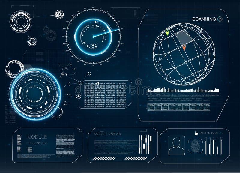 HUD Nowożytna kolekcja Przyszłościowy technologia pokazu projekt Hud technologii innowacja Radarowa ikona Hud set HUD UI ilustracji
