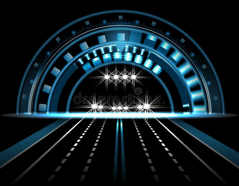 HUD Ojo tecnológico brillante en un fondo negro Coche con las luces encendido exhibición principal Camino, carretera Ilustración libre illustration