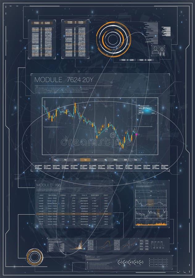 HUD Hud para el diseño de comercialización Gestión del ordenador Análisis, finanzas Plantilla del vector de la tarjeta de visita ilustración del vector
