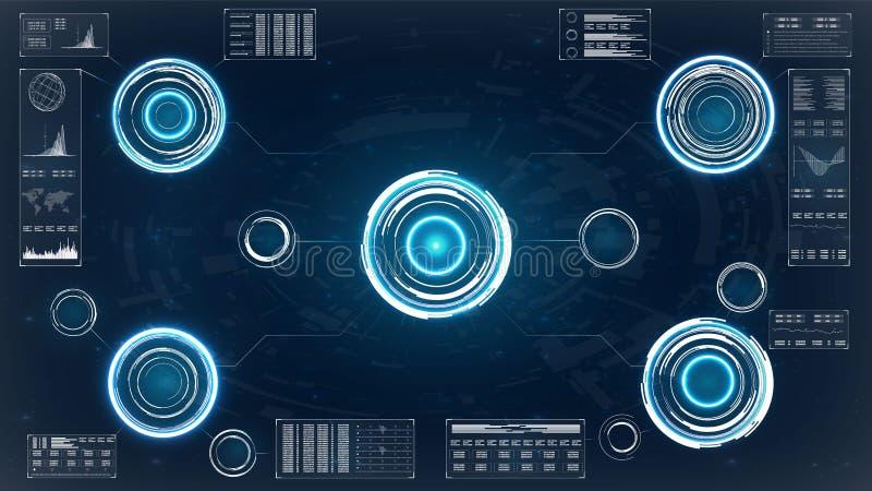 Hud para el diseño de pantalla del juego HUD Dashboard Display HUD UI app Diseño de pantalla futurista del interfaz del hud del v stock de ilustración