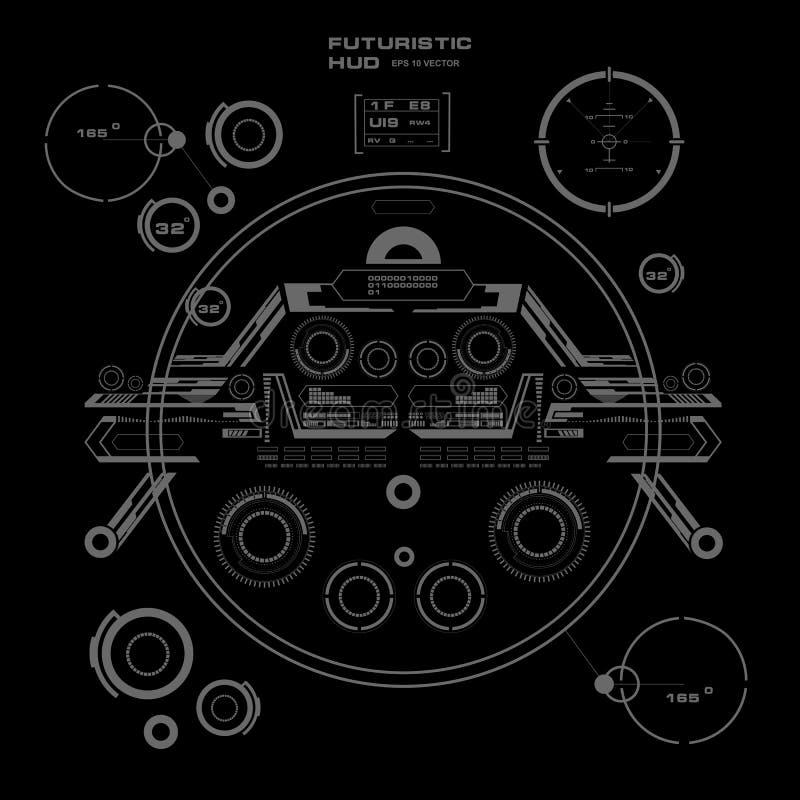 HUD preto e branco futurista, interface de utilizador virtual do toque no projeto liso ilustração stock