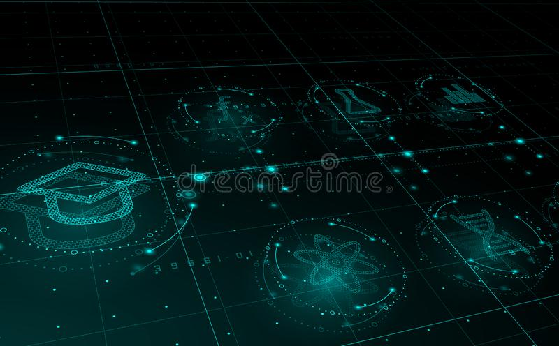HUD science icons in circles, e-Learning concept. Education vector illustration