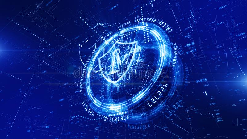 HUD and Shield Icon of Cyber Security, Digital Data Network Protection, Future Technology Network Concept vector illustration