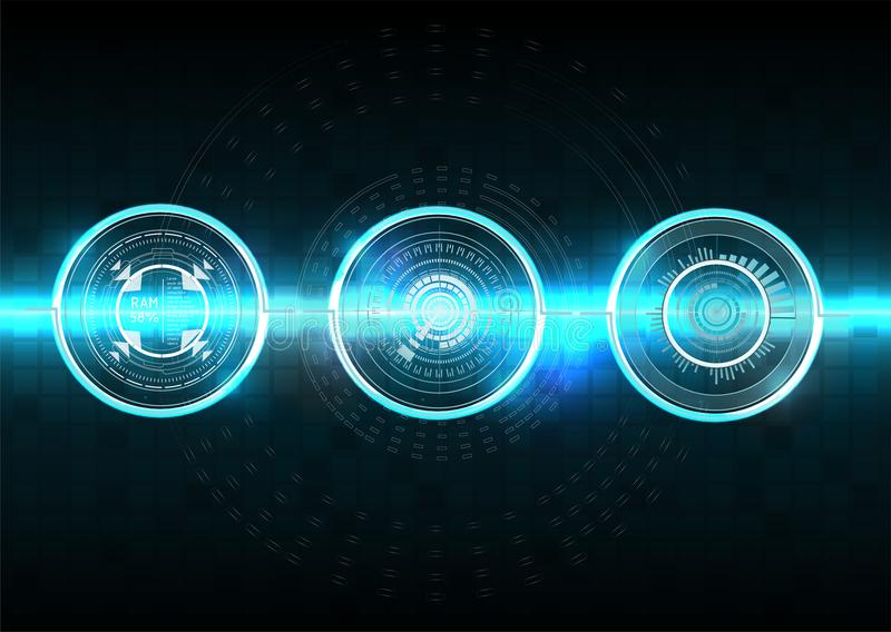 Hud stil Vektorvetenskapsabstrakt begrepp också vektor för coreldrawillustration Futuristisk användargränssnitt Himmel-fi HUD Fas vektor illustrationer