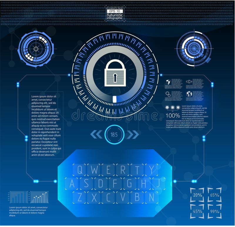 HUD style in network security vector illustration. vector illustration