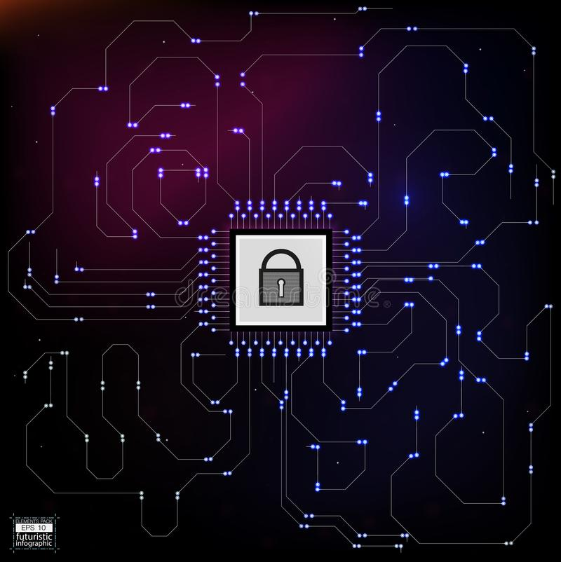 HUD style in network security vector illustration. royalty free illustration