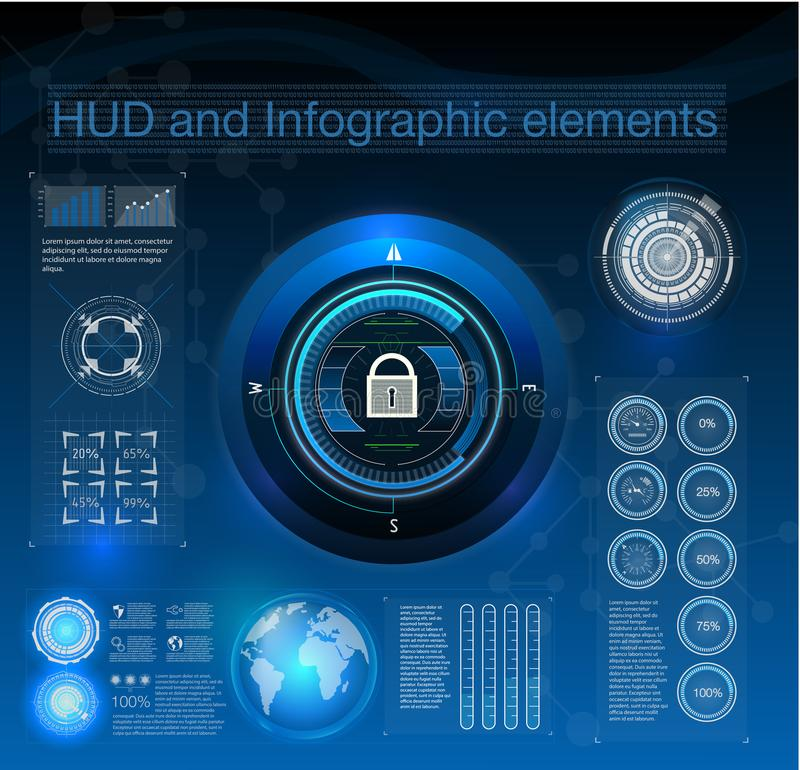 HUD style in network security vector illustration. Infographic elements. stock illustration
