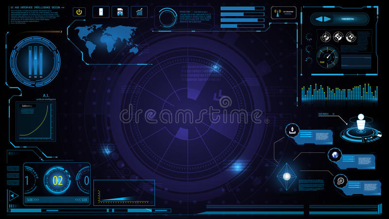 Hud technology innovation screen interface template and element design background vector illustration