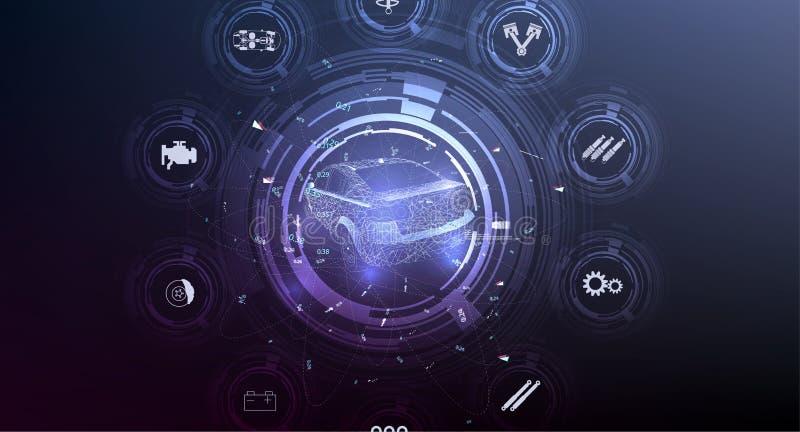 HUD UI Абстрактный виртуальный графический пользовательский интерфейс касания иллюстрация штока