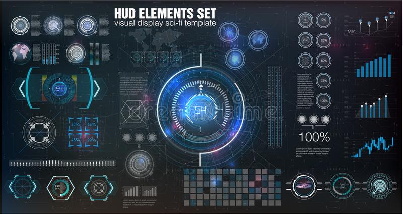 HUD UI Абстрактный виртуальный графический пользовательский интерфейс касания Infographic Конспект науки вектора также вектор илл бесплатная иллюстрация