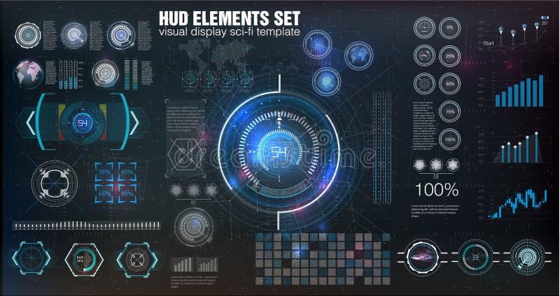 HUD UI Abstrakcjonistyczny wirtualny graficzny dotyka interfejs użytkownika Infographic Wektorowy nauka abstrakt również zwrócić  royalty ilustracja