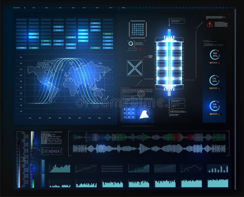 HUD UI app Interface de utilizador futurista HUD e elementos de Infographic Interface de utilizador gr?fica virtual abstrata do t ilustração royalty free