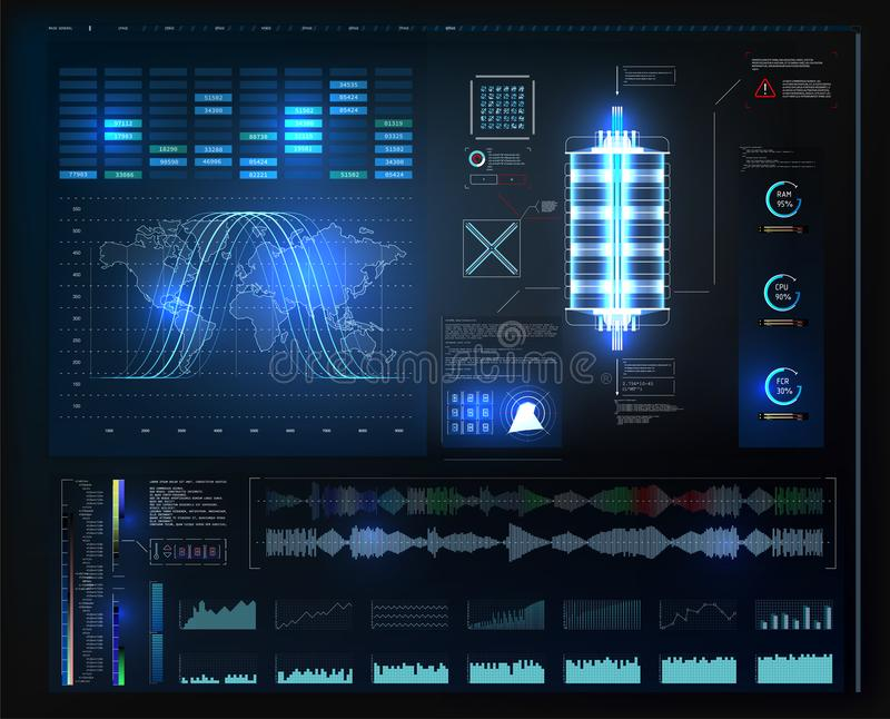 HUD UI app Interfaz de usuario futurista HUD y elementos de Infographic Interfaz de usuario gr?fica virtual abstracta del tacto libre illustration