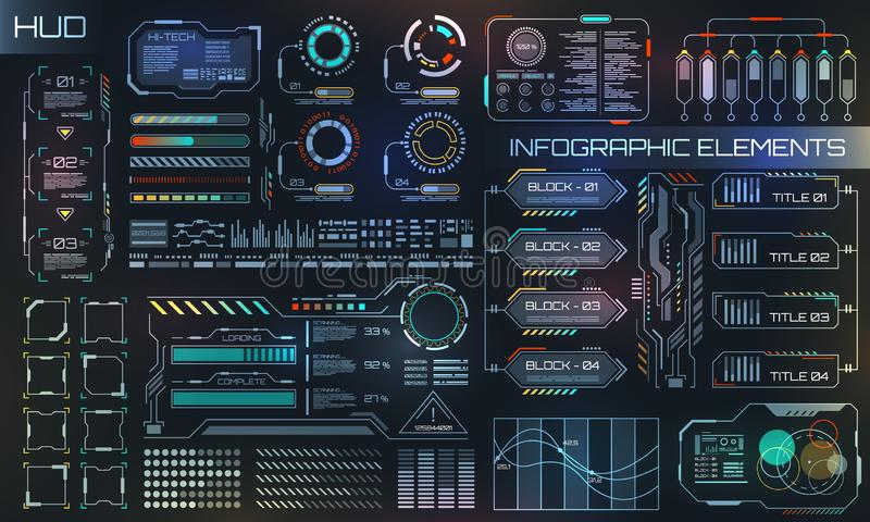 HUD UI for Business App. Futuristic User Interface HUD and Infographic Elements stock illustration