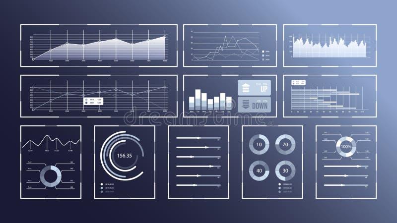 Virtual infographic screen. HUD UI for business app. Futuristic user interface set web elements. Virtual graphic touch user interface. Infographic interface stock illustration