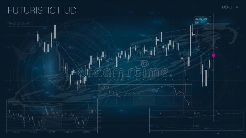 HUD UI dla biznesu app Futurystyczny interfejs użytkownika HUD i Infographic elementy ilustracja wektor