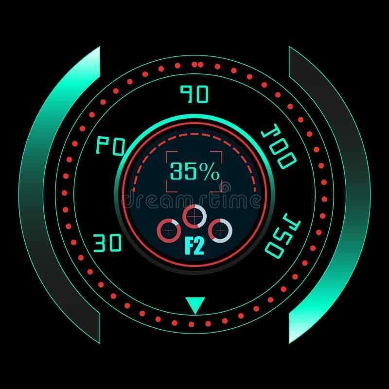 HUD UI en infographic elementen Futuristisch gebruikersinterface sc.i-FI De achtergrond van de technologie Het ruimteschip high-t royalty-vrije illustratie