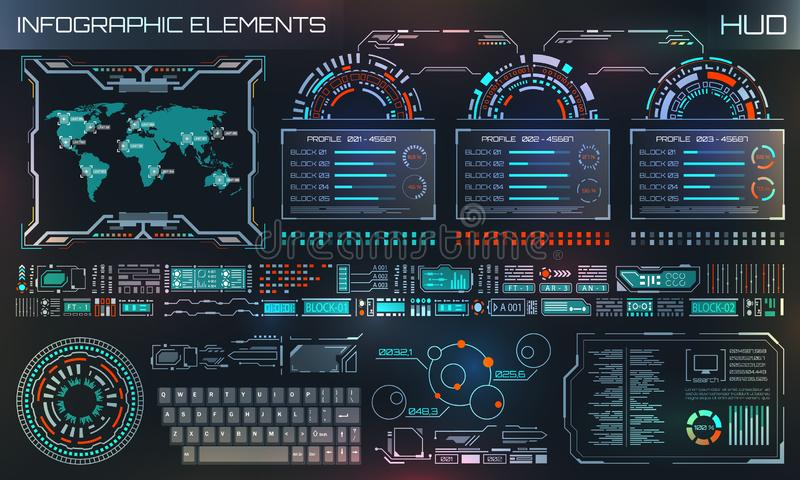 HUD UI, Futuristic User Interface HUD and Infographic Elements. Abstract Virtual Graphic Template royalty free illustration