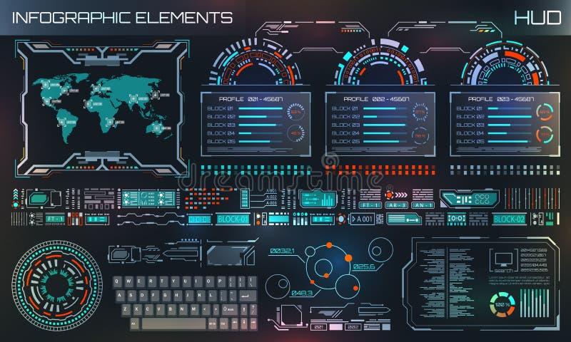HUD UI, Futurystyczny interfejs użytkownika HUD i Infographic elementy, Abstrakcjonistyczny Wirtualny Graficzny szablon royalty ilustracja