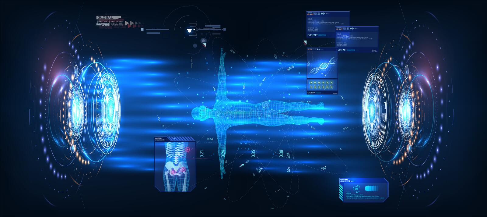 HUD UI GUI , great design for any purposes. Blue technology background vector illustration. Futuristic technology hud screen. stock illustration