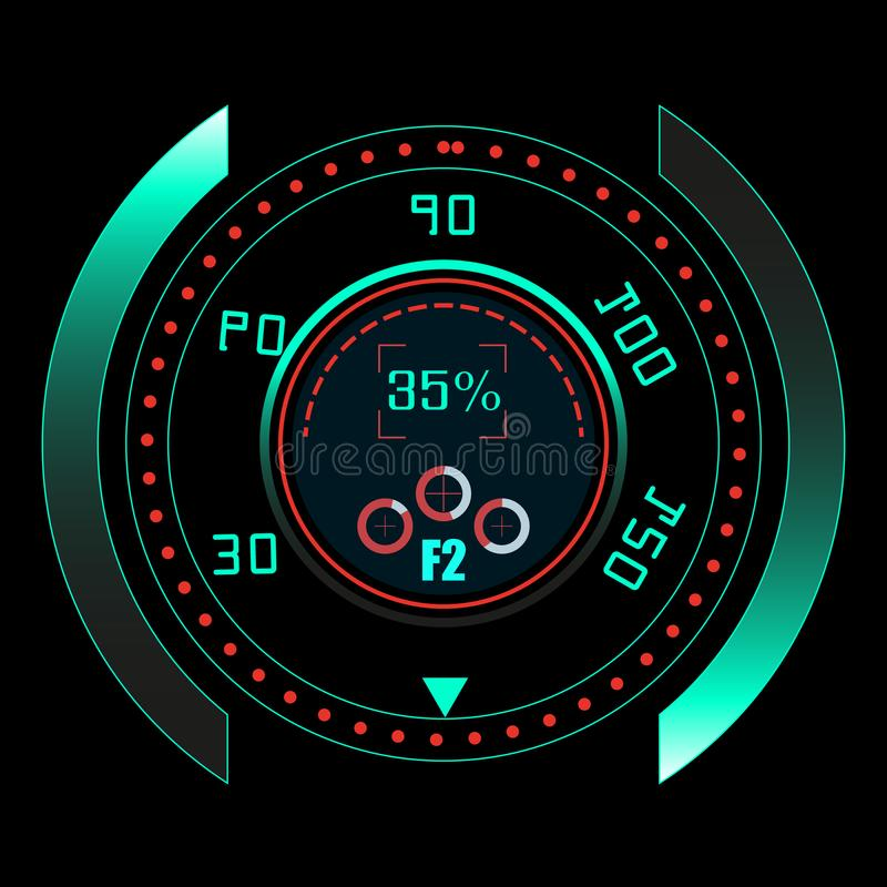 HUD UI i infographic elementy Fantastyka naukowa futurystyczny interfejs użytkownika tła binarnego kodu ziemi telefonu planety te royalty ilustracja
