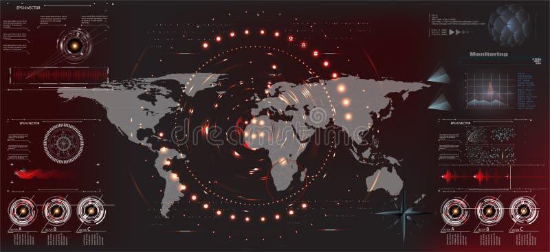 HUD UI Interfaz de usuario futurista HUD y elementos de Infographic Interfaz de usuario gráfica virtual abstracta del tacto UI HU stock de ilustración