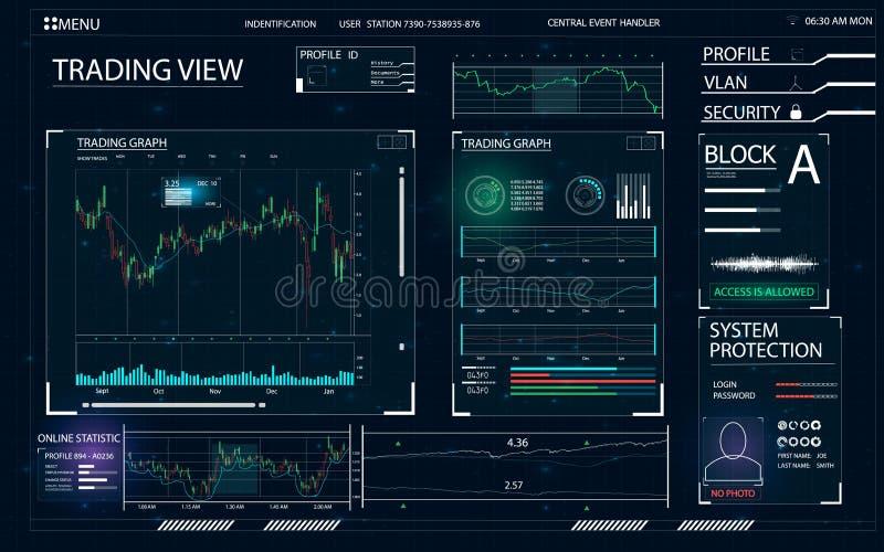 HUD UI para el negocio app ilustración del vector