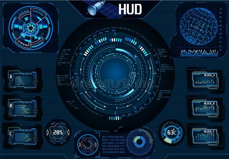 HUD UI satélite Navegador, câmera Elementos de Infographic Tecnologia - ilustração ilustração stock