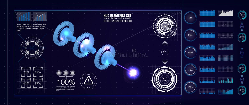 HUD UI style. Industrial aerospase blueprint. Vector illustration of future engineering with infographics and Jet engine statistic royalty free illustration