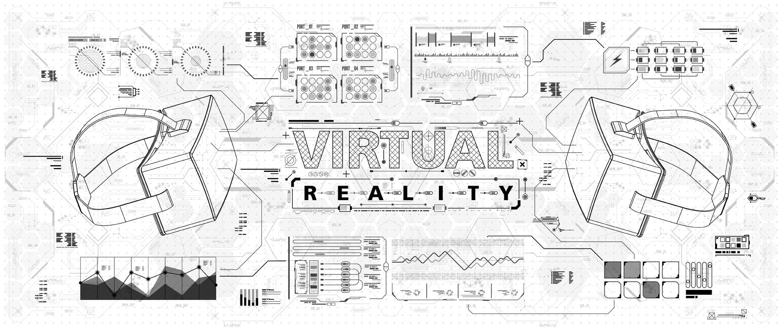 HUD ui for virtual reality glasses. Futuristic user interface for app and web. Head-up display infographic, set elements vector illustration