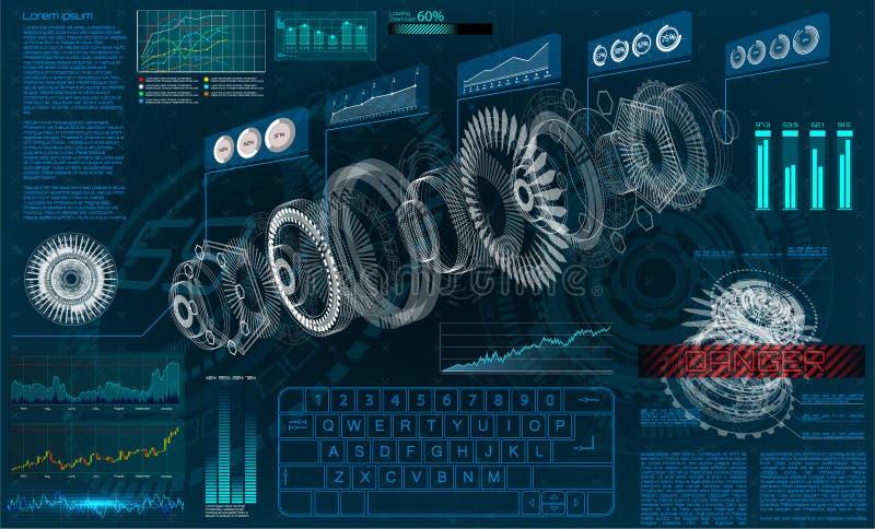 HUD UI voor zaken app Futuristische 3d vector illustratie