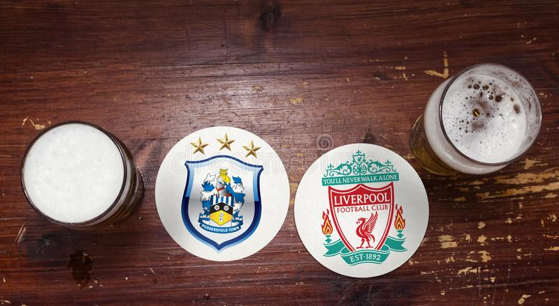 Huddersfield Town contra liverpool imagem de stock royalty free