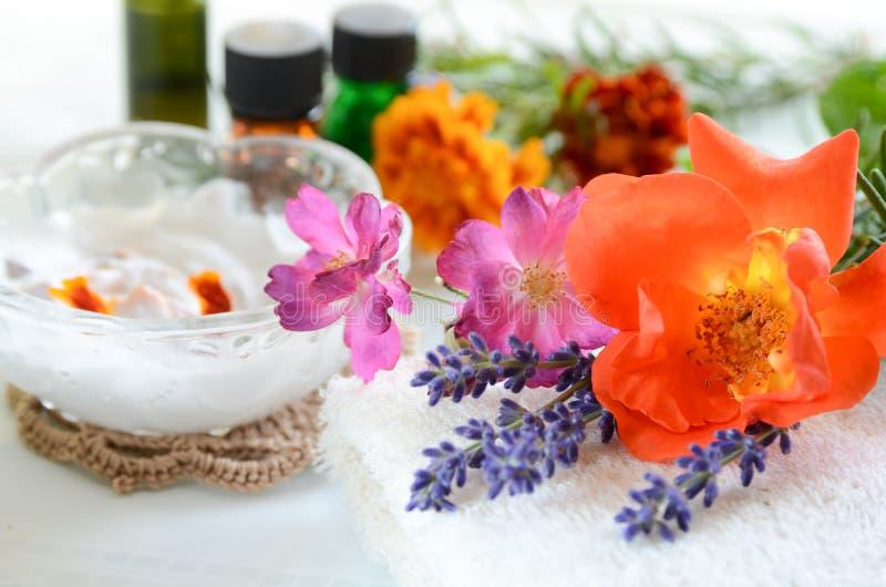 Hudomsorg med örter och fuktighetsbevarande hudkrämkräm arkivbild