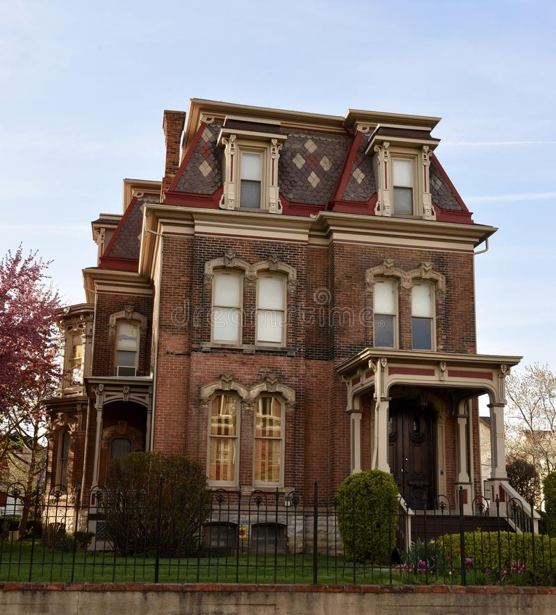 Hudson-Evans Mansion. This is a Spring picture of the Hudson-Evans Mansion at twilight located in Detroit, Michigan in Wayne County. This three story mansion is royalty free stock photography