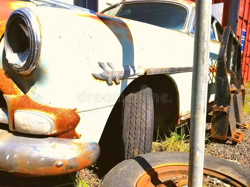 Hudson Hornet side. A rusty Hudson Hornet found in california royalty free stock image