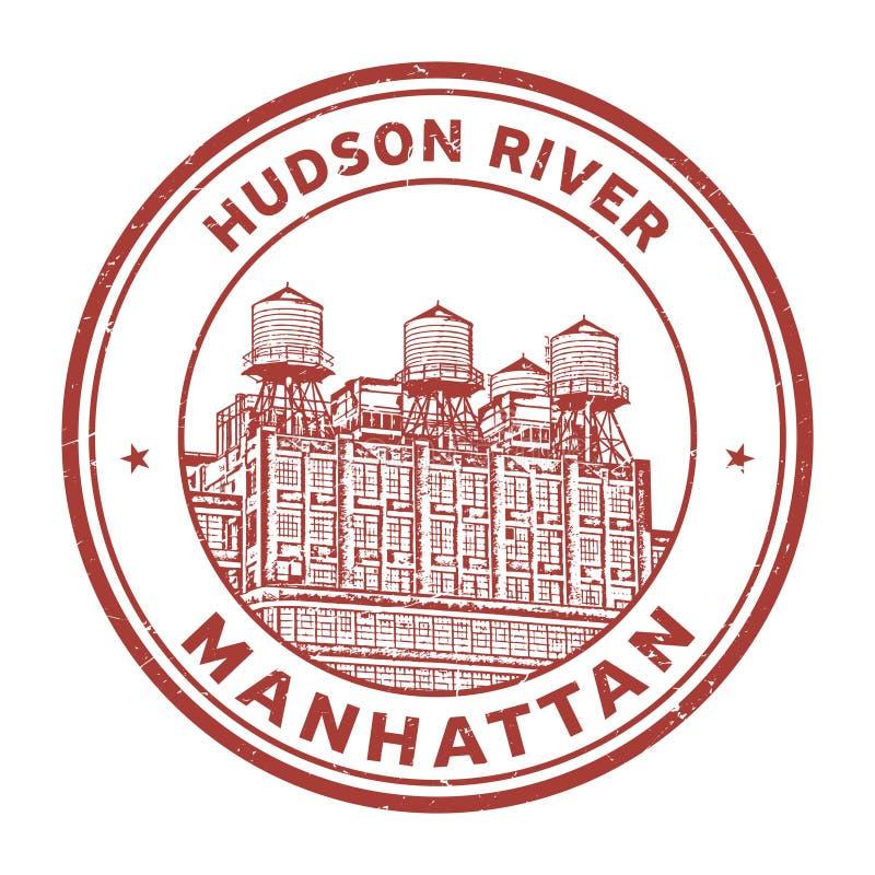 Hudson River Manhattan stämpel vektor illustrationer