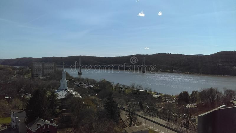 Hudson River and poughkeepsie royalty free stock photos