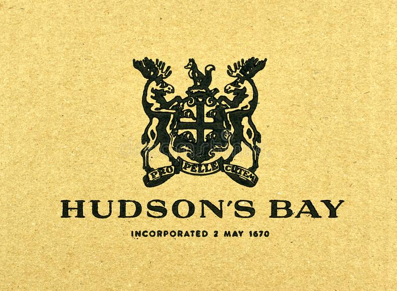 Hudson's Bay logo printed on a paper. MONTREAL, CANADA - SEPTEMBER 8, 2018: Hudson's Bay logo printed on a paper. Hudson's Bay is a chain of 90 department stores royalty free stock photos
