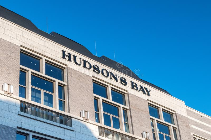 Hudson`s Bay sign. The Hudson`s Bay Company is a Canadian retail business group. Amsterdam, Netherlands - June 6, 2019: Hudson`s Bay sign. The Hudson`s Bay stock images