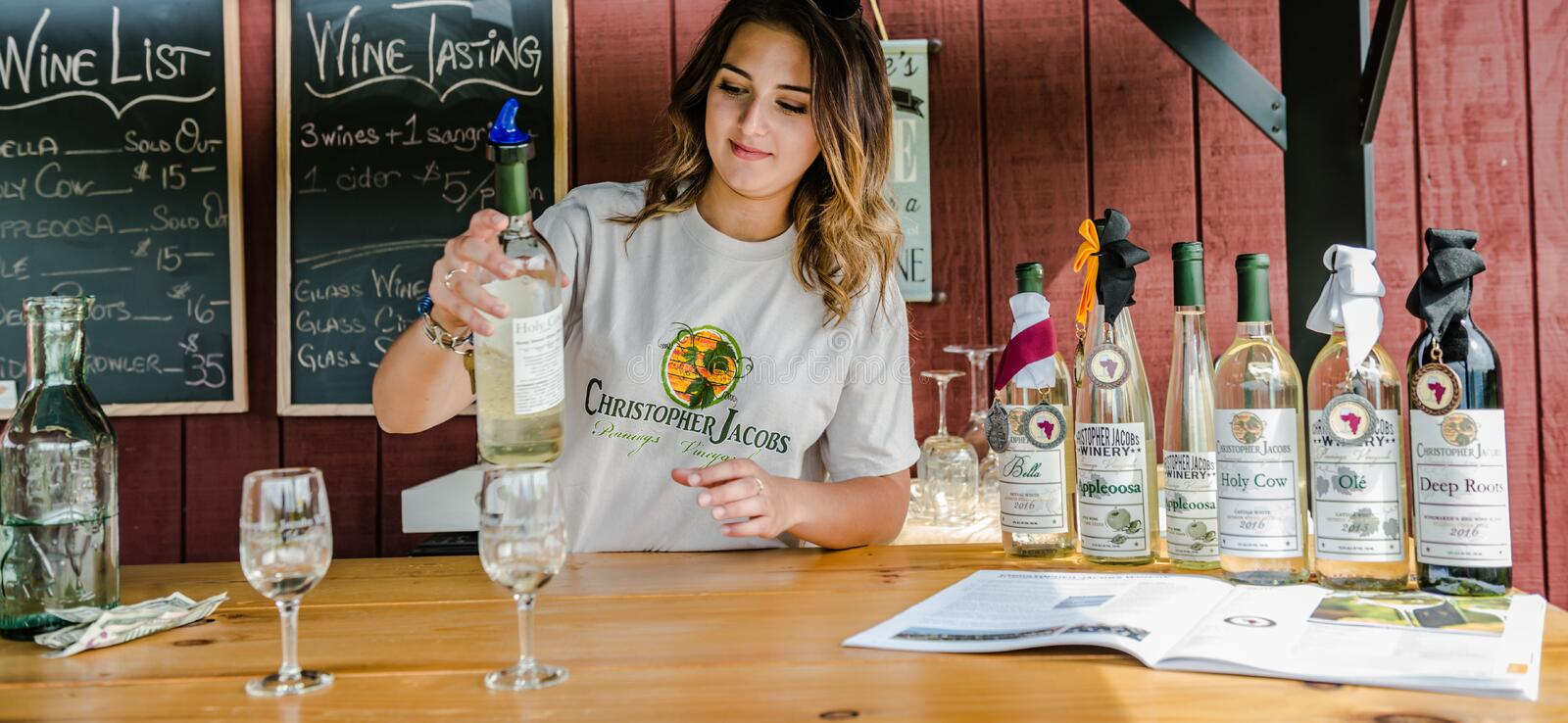 Hudson Valley Wine Tasting Station. Girl pours wine for wine tasting at Christopher Jacobs Winery in Pine Bush, NY stock images