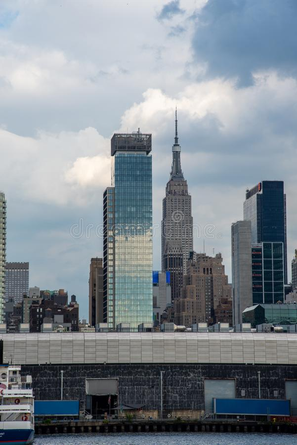 Hudson Yards from a boat in the Hudson River royalty free stock image
