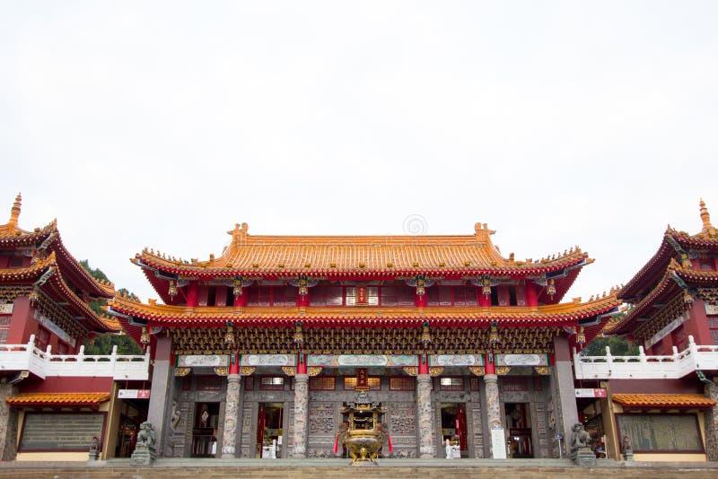 Hudsvulsts wu tempel, solmåne sjö royaltyfri bild