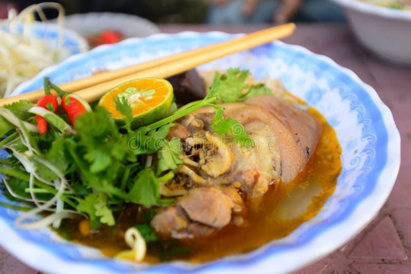 Hue beef noodle (bun bo hue). Famous Vietnamese food royalty free stock photography