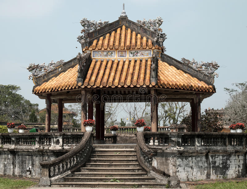 Hue Citadel, culture heritage, Dai Noi, vietnam, ngo mon. HUE, VIET NAM- FEB 19, 2016: Citadel, an culture heritage with Hoang Thanh (Imperial City),Tu Cam Thanh royalty free stock photography