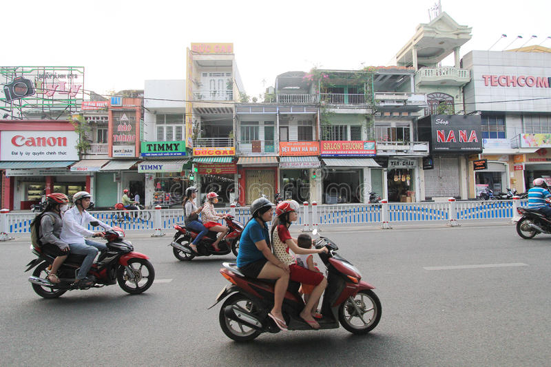 Hue street view in Vietnam stock image
