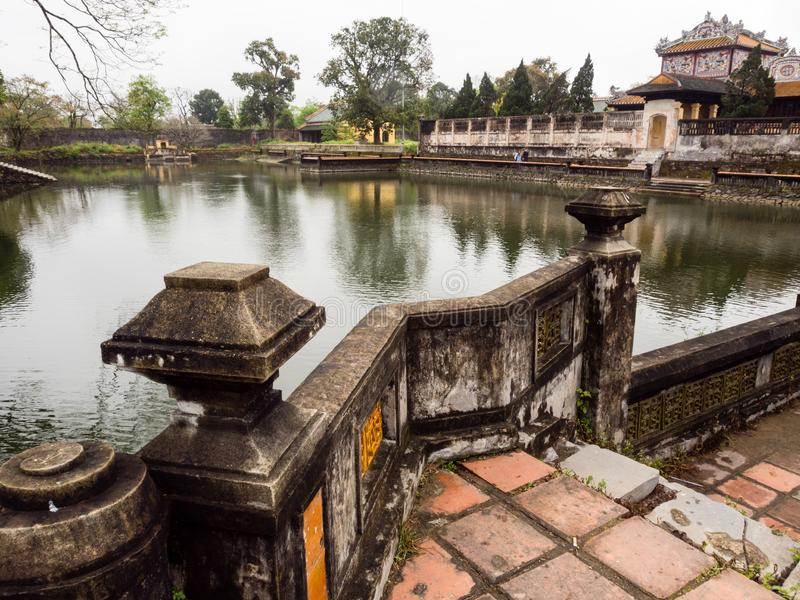 On the grounds of Imperial City of Hue, the former residence of Vietnam`s rulers and Unesco World royalty free stock image