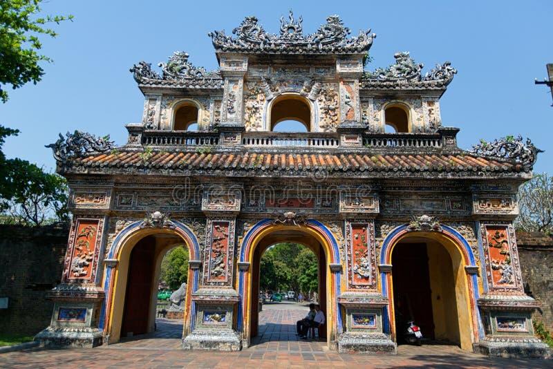 HUE, VIETNAM - MARCH 27, 2015: Structures of Hue Citadel Complex. stock images