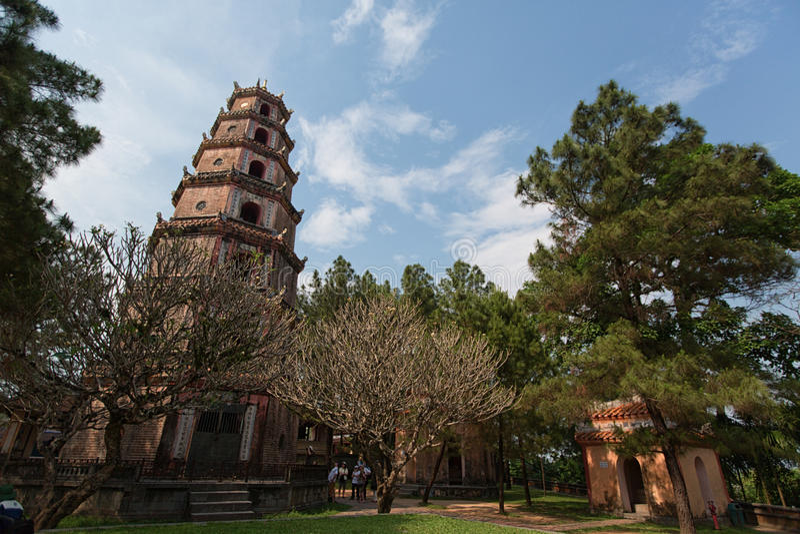 HUE, VIETNAM - MARCH 27, 2015: Thien Mu Pagoda. Unesco World Heritage Site. Hue. Vietnam. royalty free stock images