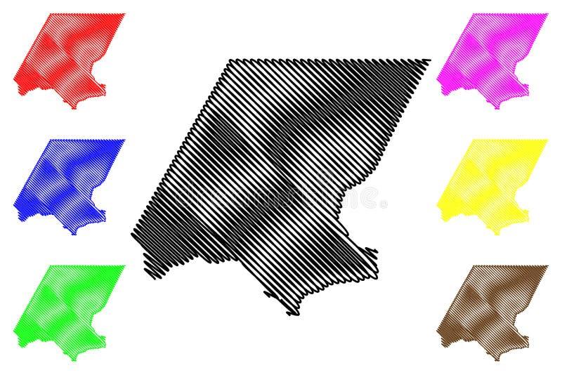 Huehuetenango-Abteilung Republik Guatemala, Abteilungen der Guatemala-Kartenvektorillustration, Gekritzelskizze Huehuetenango stock abbildung